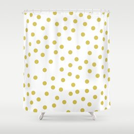 Simply Dots in Mod Yellow on White Shower Curtain
