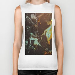 Fluid Art Acrylic Painting, Pour 3 - Black, Orange & Turquoise Blended Color Biker Tank