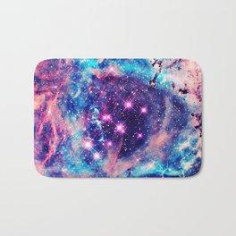 Trendy Pastel Pink Blue Nebula Girly Stars Galaxy Bath Mat