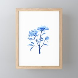 Blue peony 2 Framed Mini Art Print