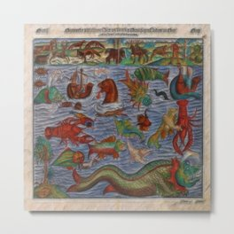 Antique Monster Card Metal Print