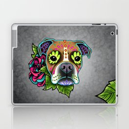 Boxer in White Fawn - Day of the Dead Sugar Skull Dog Laptop & iPad Skin
