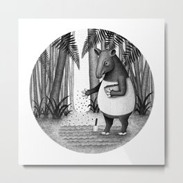 Tapirs are gardeners of forest   Black and White Illustration Metal Print