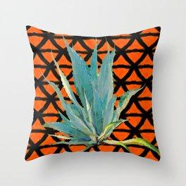 CUMIN ORANGE BLUE DESERT AGAVE CACTI ART Throw Pillow
