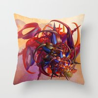 sci fi Throw Pillows featuring Sci-fi insect by Gaspar Avila