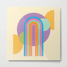 Sherbert Rainbow Geometric Arch Metal Print