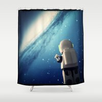 neil gaiman Shower Curtains featuring Neil in the galaxy by Salvatore Rotolo