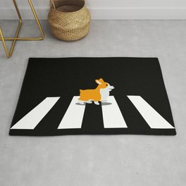 Dog Corgi walk over Crosswalk Rug