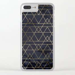 Modern Deco Gold and Marble Geometric Mountains on Navy Blue Clear iPhone Case