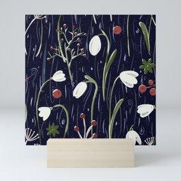 Winter flora pattern Mini Art Print