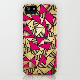 Glam Faux Gold, Black, and Pink Striped Triangles Geometric iPhone Case