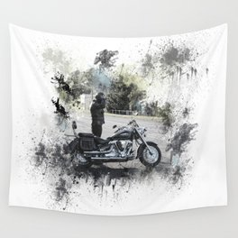 Biker near motorcycle on white Wall Tapestry