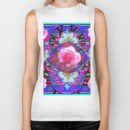 PINK ROSES WHITE BUTTERFLIES  PURPLE NATURE  ART Biker Tank