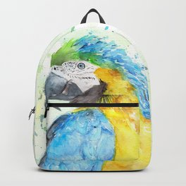 """Watercolor Painting of Picture """"Macaw"""" Backpack"""