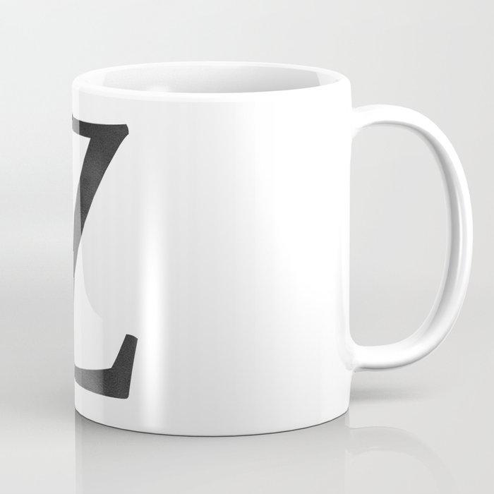 letter z initial monogram black and white coffee mug
