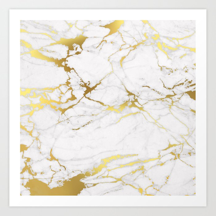 White Gold Marble Art Print By Printapix Society6