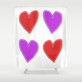 Red and Purple Hearts - 4 hearts Shower Curtain