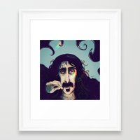 zappa Framed Art Prints featuring Frank Zappa by womoomow