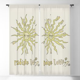 radiate love // retro surf art by surfy birdy Blackout Curtain