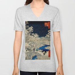 Ukiyo-e, Ando Hiroshige, Yuhi Hill and the Drum Bridge at Meguro Unisex V-Neck