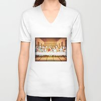 the last unicorn V-neck T-shirts featuring Last Supper Unicorn by That's So Unicorny