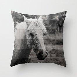 GreyScale Horse Throw Pillow