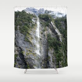 The Waterfalls at Milford Sound, New Zealand 02 Shower Curtain