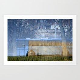 Blue bus Art Print
