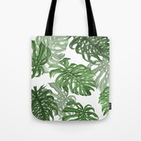 palms Tote Bags featuring Monstera Deliciosa by Laura O'Connor