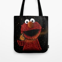 elmo Tote Bags featuring Elmo and Little Butterfly by Fathi