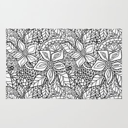 Black and white lace pattern 2 Rug