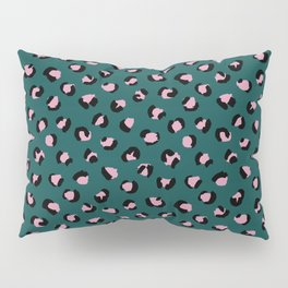 Leopard animal print trend abstract minimal spots panther cat Green Pink Black Pillow Sham