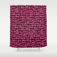 lv Shower Curtains featuring LV Graffiti  by I Love Decor