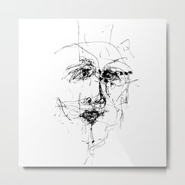 Doodle Face 1 by Kathy Morton Stanion Metal Print