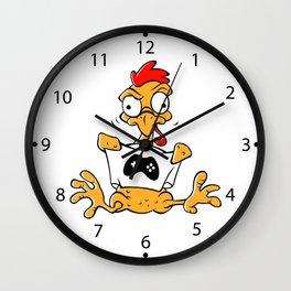 Plucked cartoon chicken Wall Clock