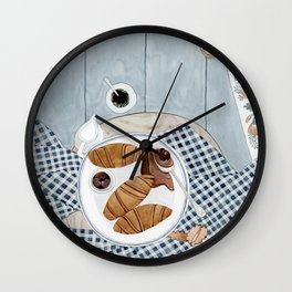Croissants With Cherry Jam Wall Clock