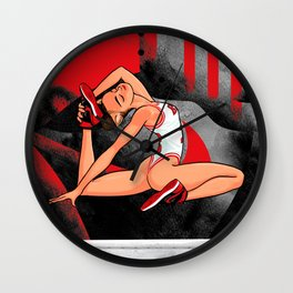 "Sneaker Badge-Yoga girl Cool Noodle: ""At least the sneakers aren't that tight."" Wall Clock"
