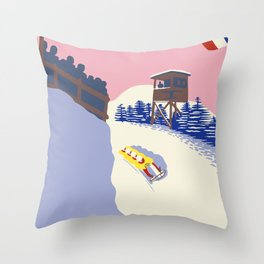 Lake Placid Olympic bobsled run Throw Pillow