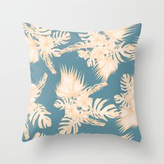 Island Vacation Hibiscus Palm Coral Teal Blue Throw Pillow