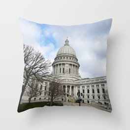 Wisconsin State Capitol Building - Madison, WI, USA Throw Pillow