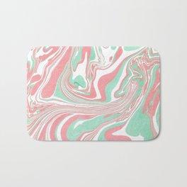 Elegant pink green abstract watercolor marble Bath Mat