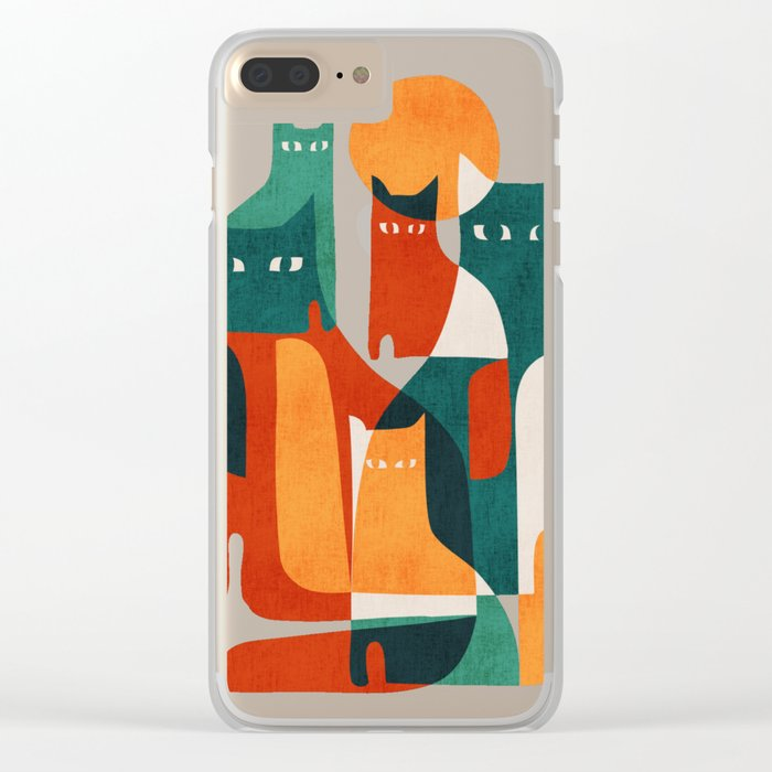 Cat Family Clear iPhone Case