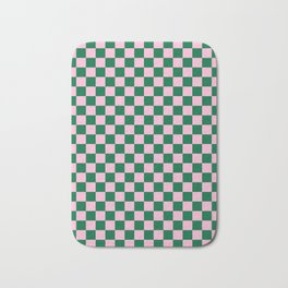 Cotton Candy Pink and Cadmium Green Checkerboard Badematte