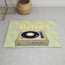 Retro Vibes Record Player Design in Yellow Rug