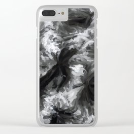 black and white abstract painting texture background Clear iPhone Case