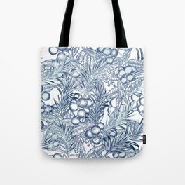 Elegant floral tropical pattern with blue palm leaves and berries Tote Bag