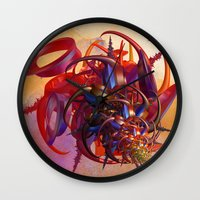 sci fi Wall Clocks featuring Sci-fi insect by Gaspar Avila
