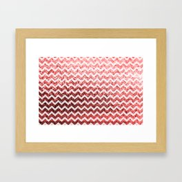 Glitter Sparkly Bling Chevron Pattern (red) Framed Art Print