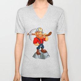 miner funny with pick.Prospector cartoon Unisex V-Neck