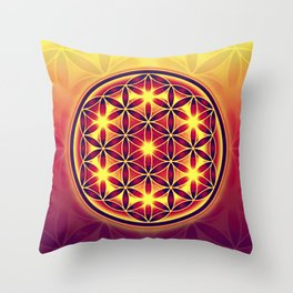 FLOWER OF LIFE batik style yellow red Throw Pillow